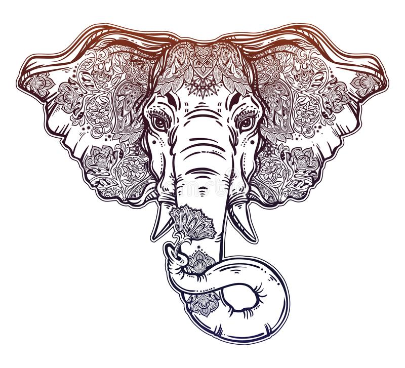 Decorative elephant portrait with beautiful with lotus flower stock download decorative elephant portrait with beautiful with lotus flower stock vector illustration of icon mightylinksfo