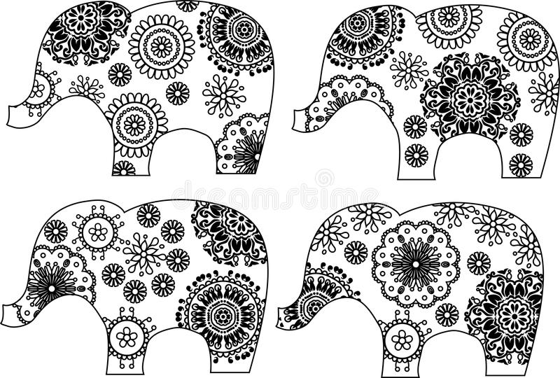 Decorative elephant silhouette stock illustration