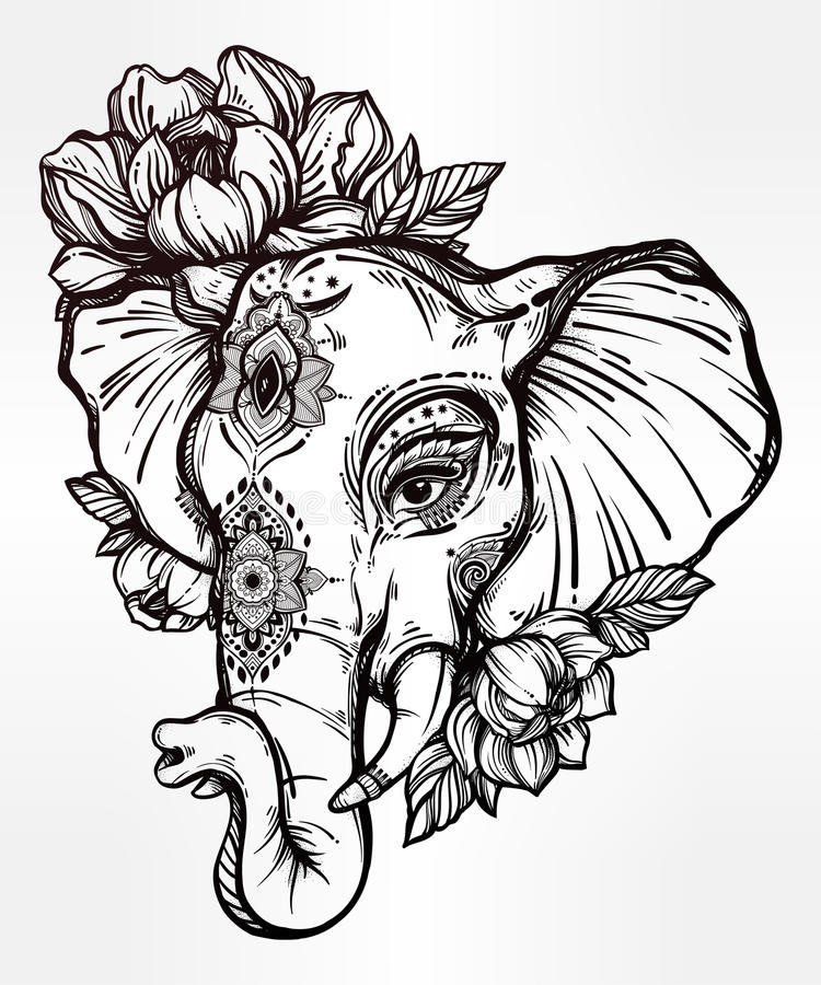 Flower Head Line Drawing : Decorative elephant with tribal ornament flowers stock