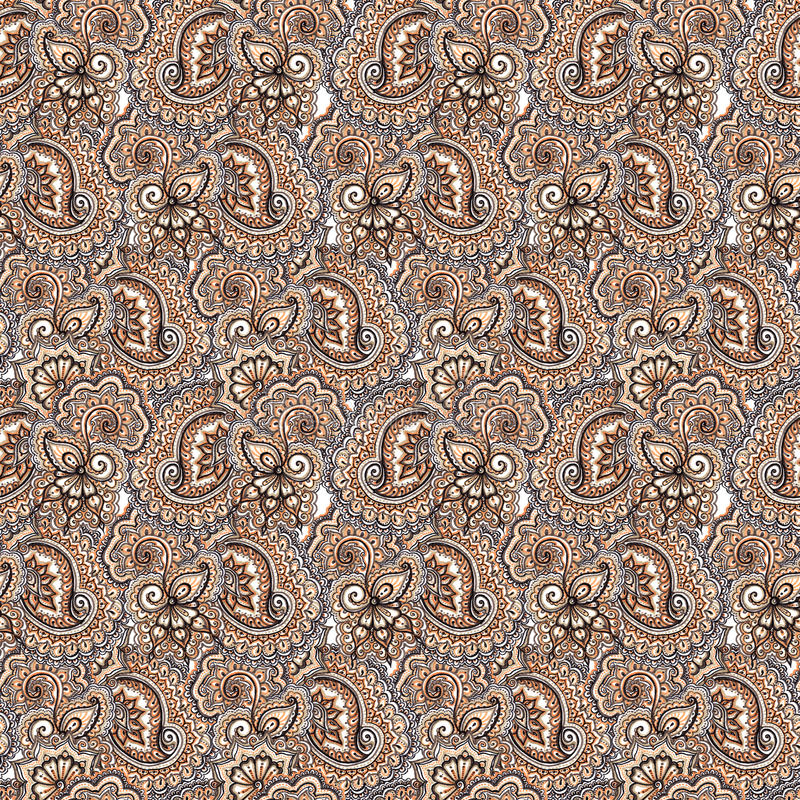 Decorative embroidery repeating pattern. Arabic paisley and flowers background royalty free stock photos