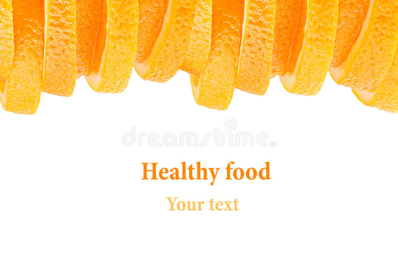 Decorative ending from a pile of slices of juicy orange on a white background. Fruit border, frame. Isolated. Food background. Cop stock image