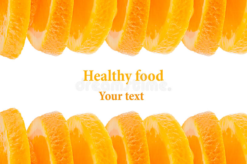 Decorative ending from a pile of slices of juicy orange on a white background. Fruit border, frame. Isolated. Food background. Copy space. Concept art stock photo