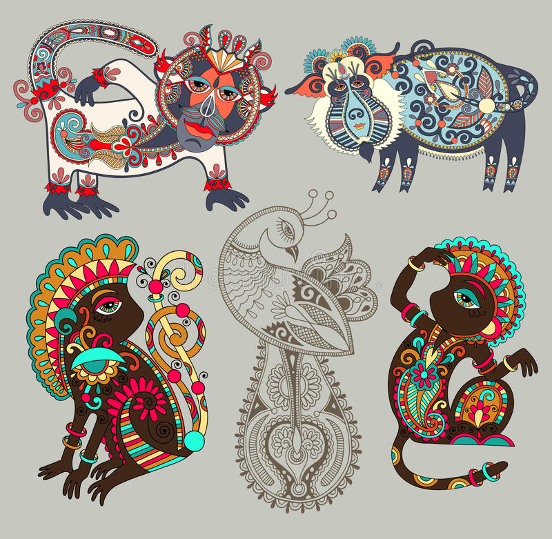 Free Decorative Ethnic Folk Animals And Bird In Royalty Free Stock Photography - 62494647