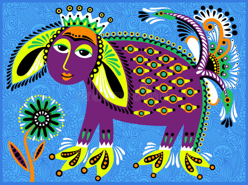 Decorative ethnic folk animals in Ukrainian. Traditional karakoko style - fantasy monsters, vector illustration stock illustration