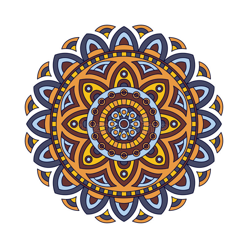 Decorative ethnic mandala. Outline isolates ornament. Vector design with islam, indian, arabic motifs. stock illustration