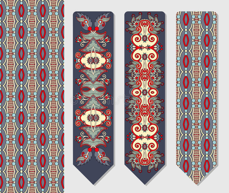 Decorative ethnic paisley two bookmark for. Floral decorative ethnic paisley two bookmark for printing, double-sided layout vector illustration royalty free illustration