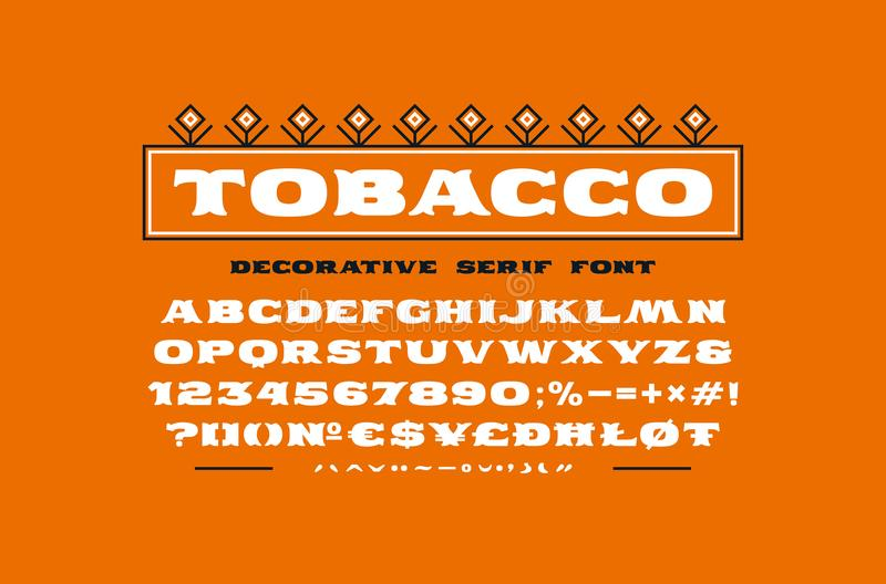Decorative extended serif font. Bold face. Letters and numbers for logo and title design. Type with diacritic signs vector illustration