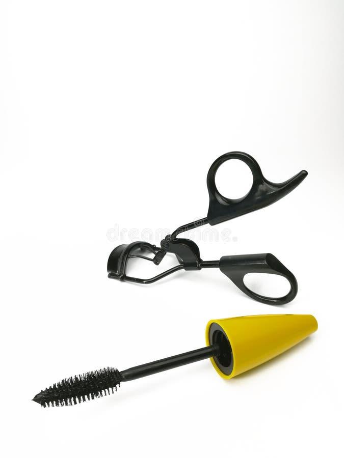Decorative eyelashes, mascara and curling eyelashe. S isolated on white stock image