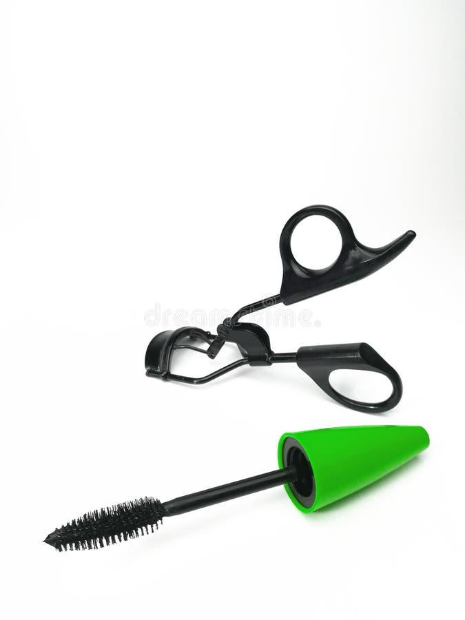 Decorative eyelashes, mascara and curling eyelashe. S isolated on white stock photography