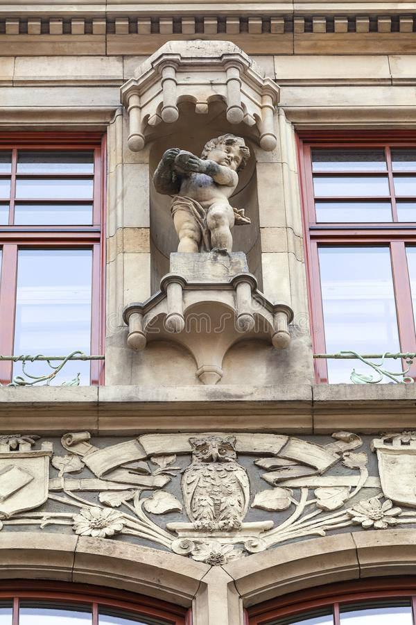 Decorative facade of old building, Wroclaw, Poland. Decorative facade of old building, details, Wroclaw, Poland royalty free stock image