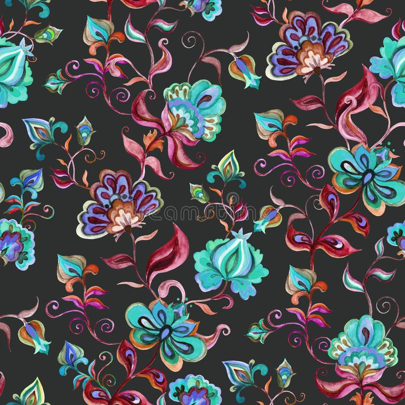 Decorative fairy flowers at black background. Repeating pattern. Watercolor in Eastern European folk stock illustration