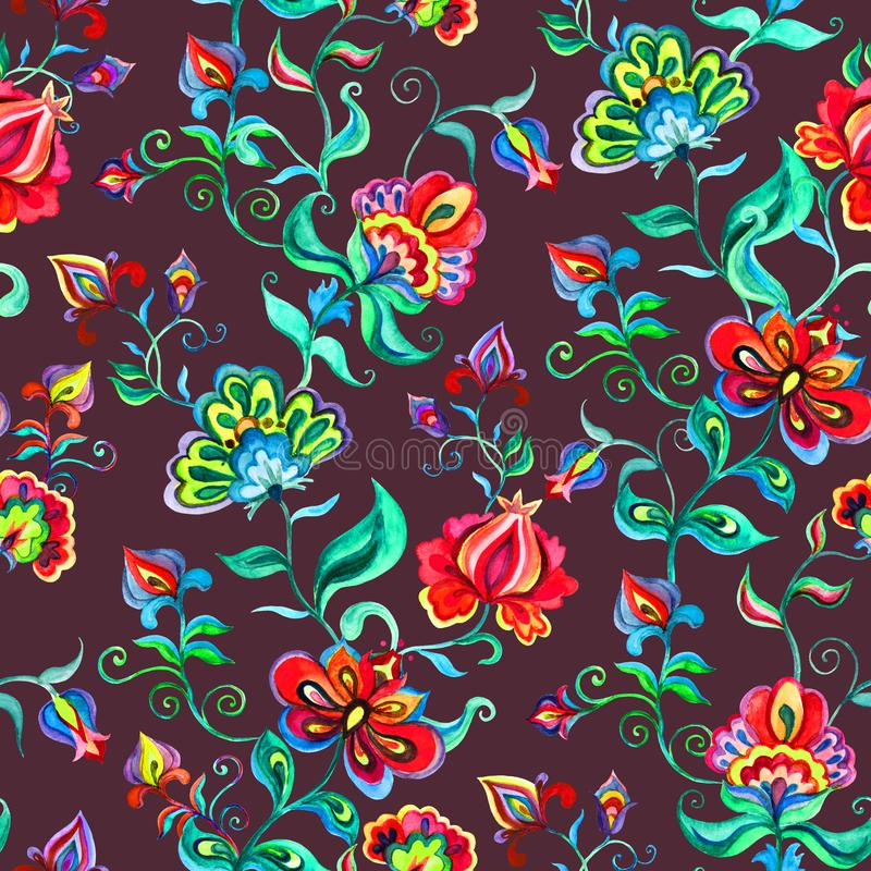 Decorative fairy flowers at dark background. Repeating pattern. Watercolor in Eastern European folk art. Decorative fairy flowers at dark background. Repeating royalty free illustration