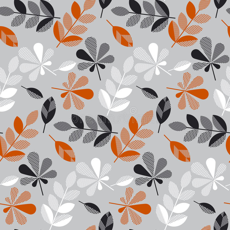 Decorative fall leaves seamless pattern. For surface design, fabric, wrapping paper, background. abstract geometry style vector autumn illustration. natural royalty free illustration