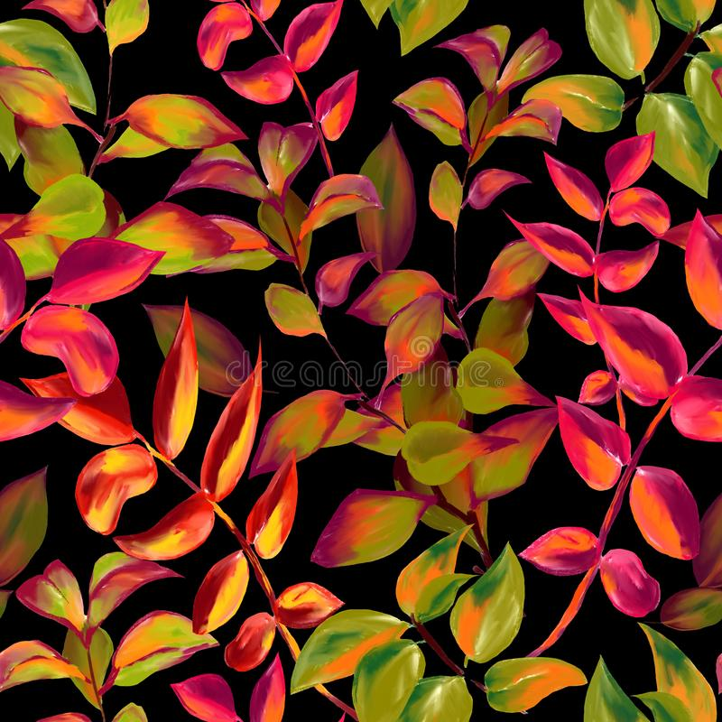 Decorative fall leaves seamless pattern for surface design, fabric, wrapping paper, background. abstract style autumn royalty free illustration