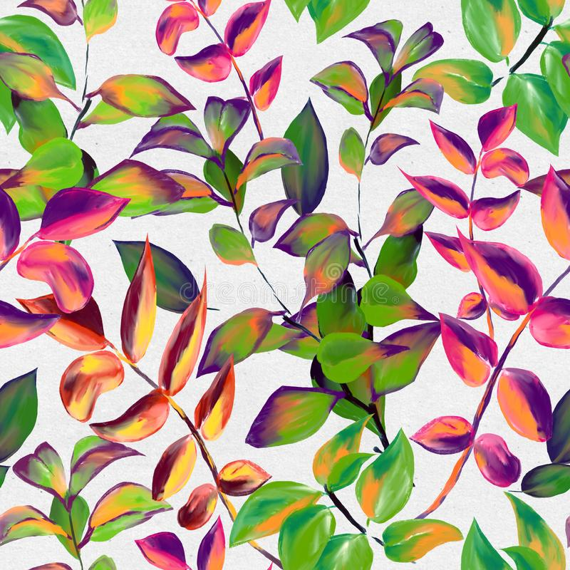 Decorative fall leaves seamless pattern for surface design, fabric, wrapping paper, background. Abstract style spring vector illustration