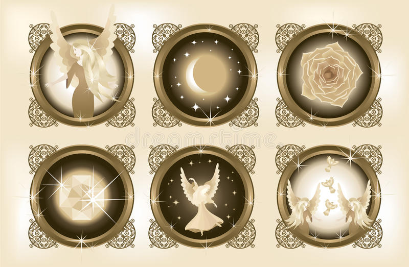 Decorative Fantasy Elements 1. Six illustrations of fantasy elements – an angel, a night sky and a moon, a rose, a gem, a dancing angel, two angels and vector illustration