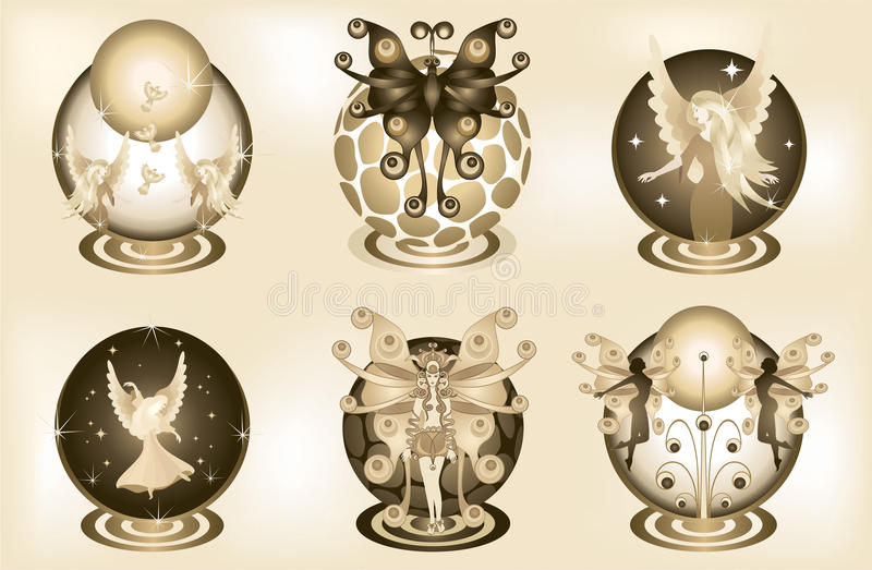 Decorative Fantasy Elements 2. Six illustrations of fantasy elements in sepia tone. Background is made with gradient mesh royalty free illustration
