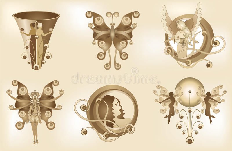 Decorative Fantasy Elements 3. Six illustrations of fantasy elements in sepia tone. Background is made with gradient mesh royalty free illustration