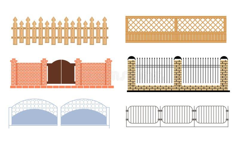 Decorative Fences Set, Wooden, Wrought Iron, Brick Fences Vector Illustration. On White Background royalty free illustration
