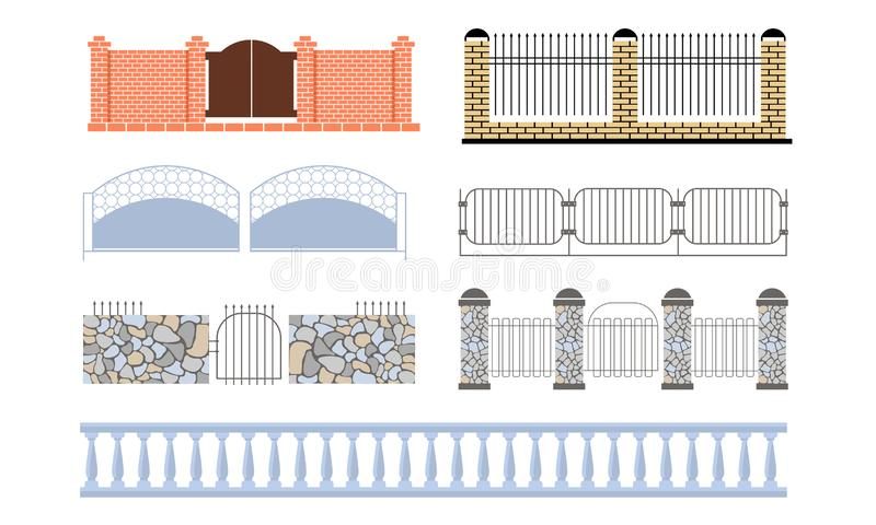 Decorative Fences Set, Wooden, Wrought Iron, Stone, Brick Fences Vector Illustration. On White Background vector illustration