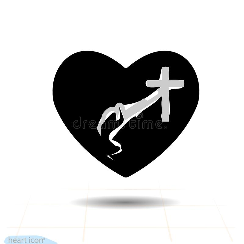 Decorative figure praying. Christian cross in the heart. Valentines day sign, emblem, Flat style for graphic web design, logo, eps vector illustration