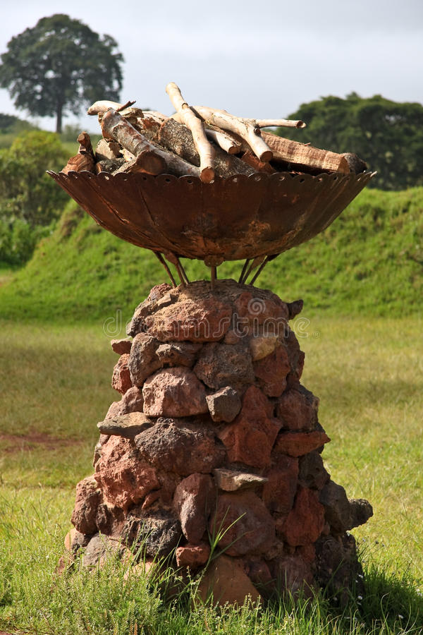 Decorative Fire Pit in Tanzania royalty free stock photos