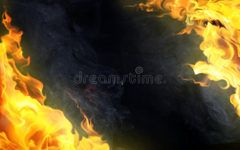 Decorative flame on black vector illustration