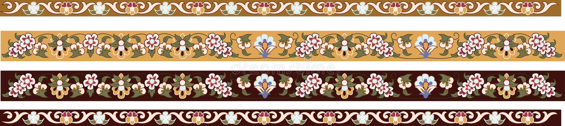 Decorative floral borders stock illustration