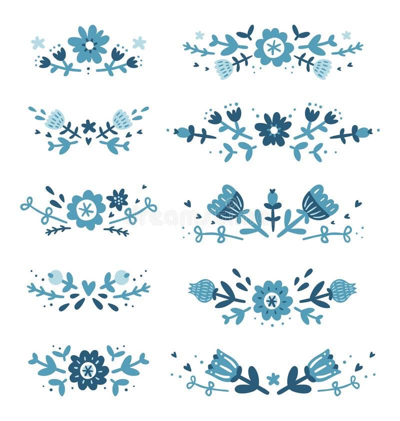 Decorative floral compositions set 2. Decorative blue floral compositions collection stock illustration