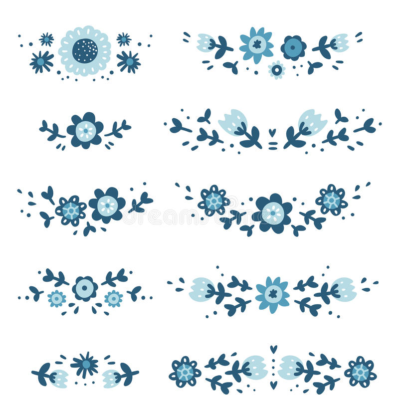 Decorative floral compositions. Decorative floral vector compositions collection vector illustration