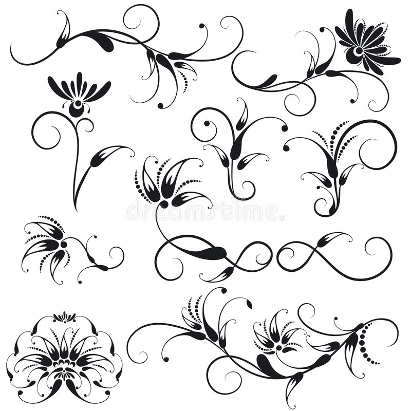 Download Decorative Floral Design Elements Stock Vector - Illustration of flourish, ancient: 8277064