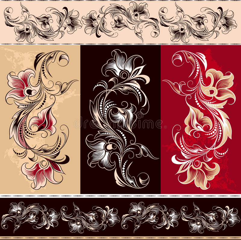 Decorative floral elements royalty free stock photos