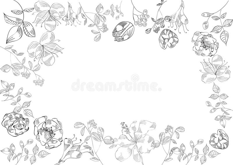 Download Decorative Floral Frame (black And White) Stock Vector - Image: 12178060