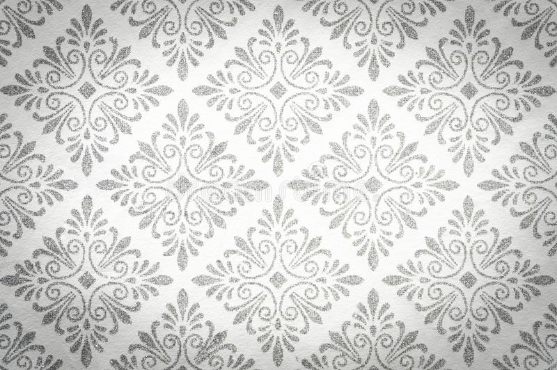 Decorative Floral Grey Pattern on the White Background vector illustration
