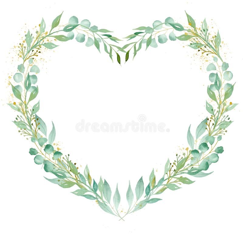 Decorative floral heart shaped frame watercolor raster illustration. Romantic botanical border with copyspace. Festive invitation, valentine card watercolour stock image