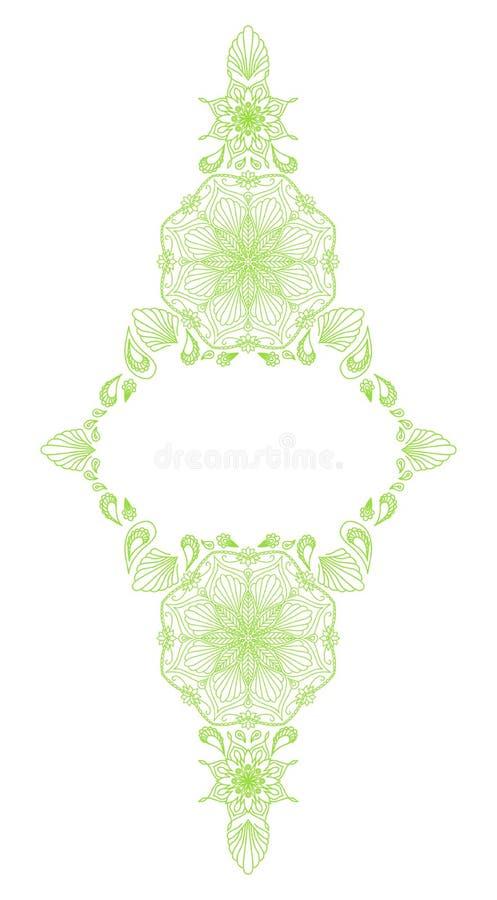 Decorative floral mandala frame element stock illustration