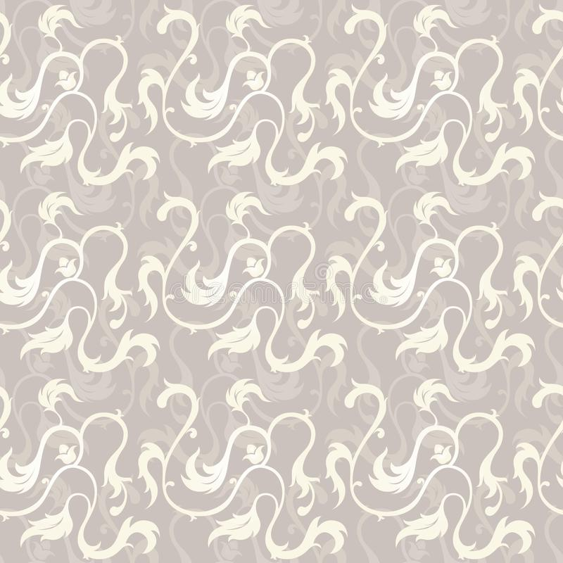 Decorative, Floral Swirl Seamless/ Repeated Vector Pattern royalty free stock photos