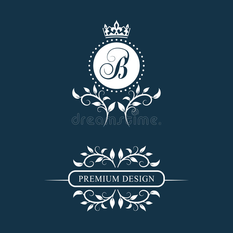 Decorative Floral Vintage Monogram. Set of Calligraphic Logo Templates. Emblem Sign. Design Page. Graphic Luxury frame, border. st royalty free illustration