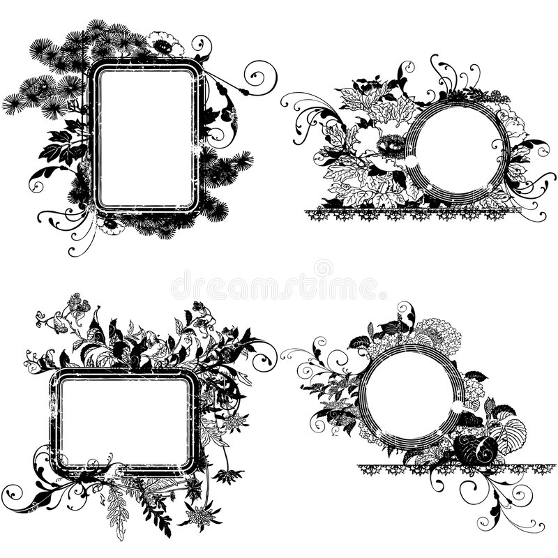 Decorative Flower Circle Frames Royalty Free Stock Photography