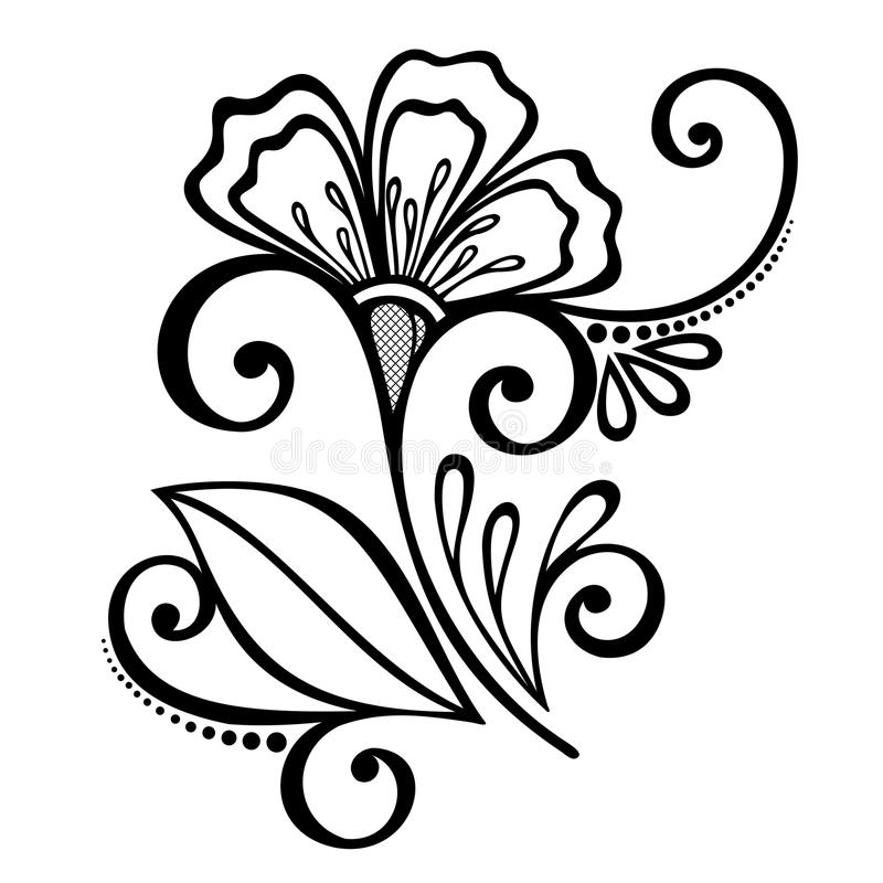 Download Decorative Flower With Leaves Stock Vector