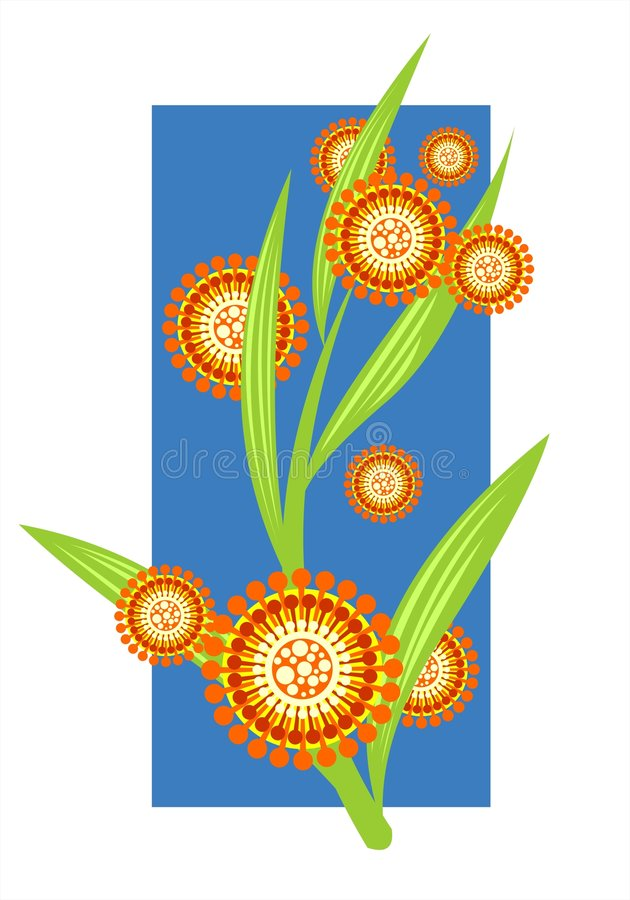 Decorative flowers. Orange decorative flowers and leaves on a blue-white background royalty free illustration