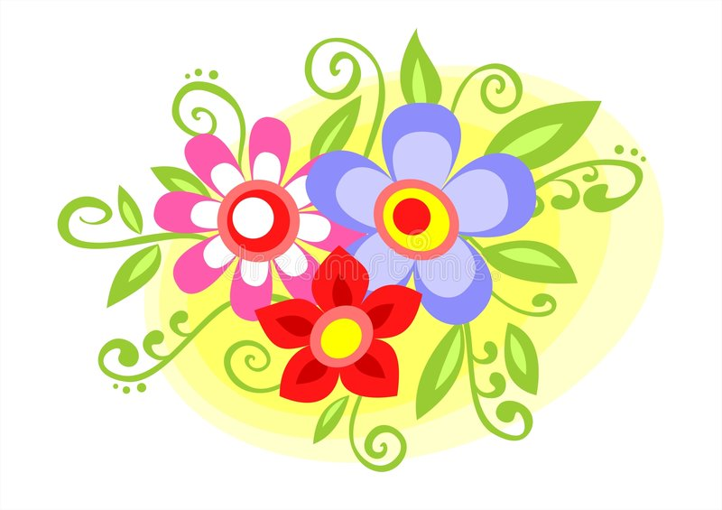 Download Decorative flowers stock vector. Image of nice, drawing - 2302802