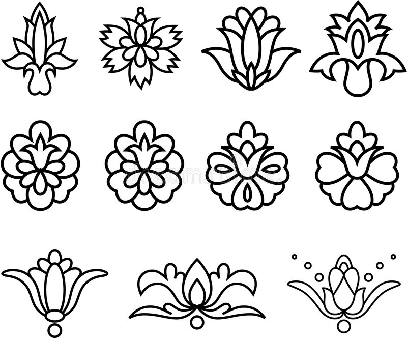 Download Decorative Flowers stock vector. Image of ornaments, black - 2633683