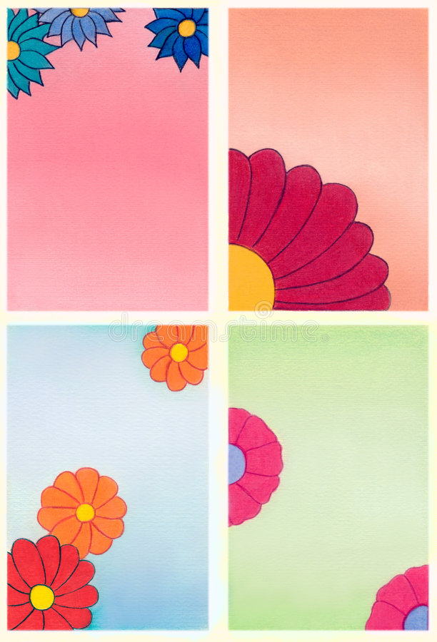 Decorative flowers. Hand drawn illustration royalty free illustration