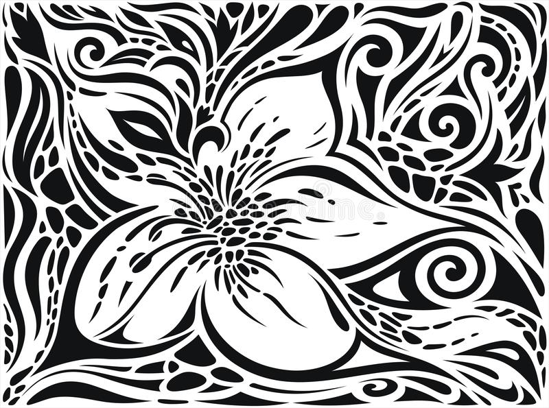 Decorative Flowers in Black & White, Floral decorative ornate Background tattoo graphic design vector illustration