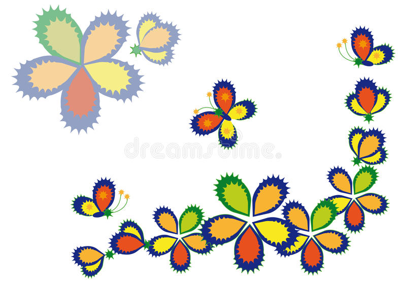 Decorative flowers and butterflies vector illustration