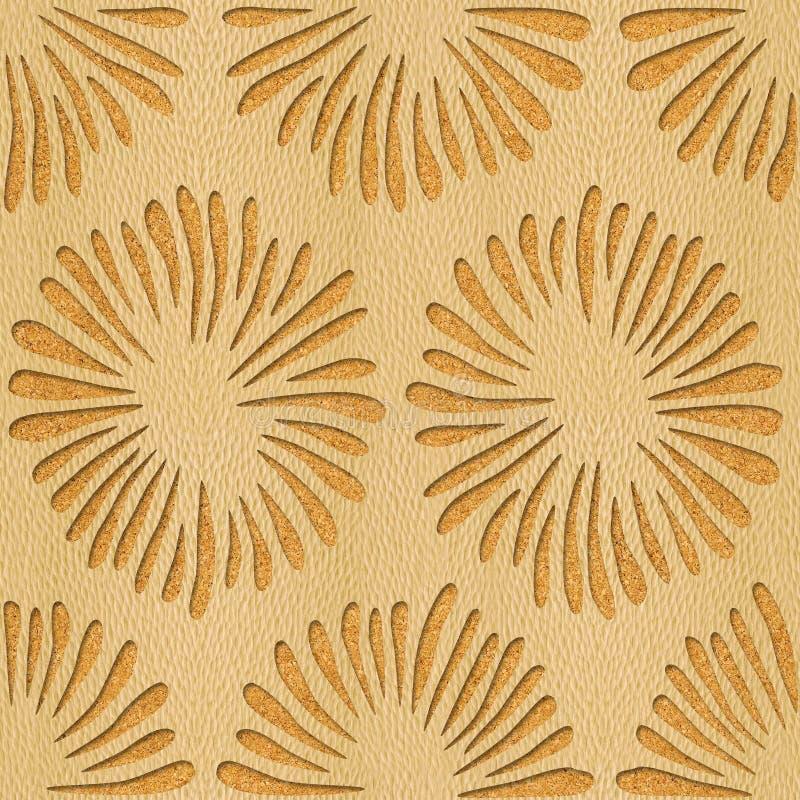 Decorative flowers - Interior wallpaper - White Oak wood texture stock illustration