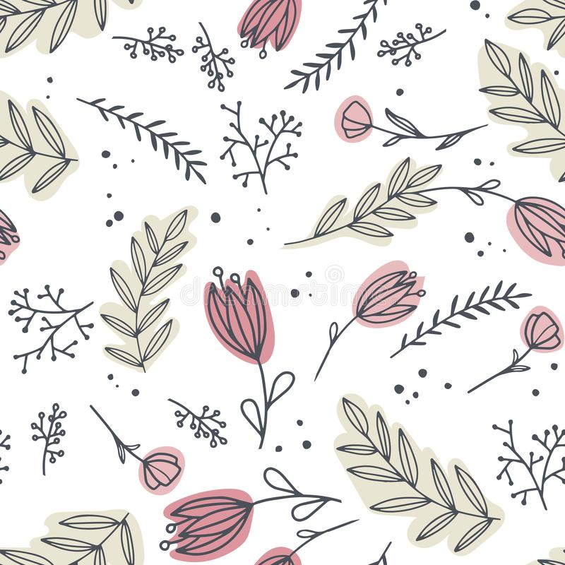 Decorative flowers seamless pattern. Delicate and scribble flowers on green background. Decorative flowers seamless pattern. Delicate and scribble flowers on vector illustration