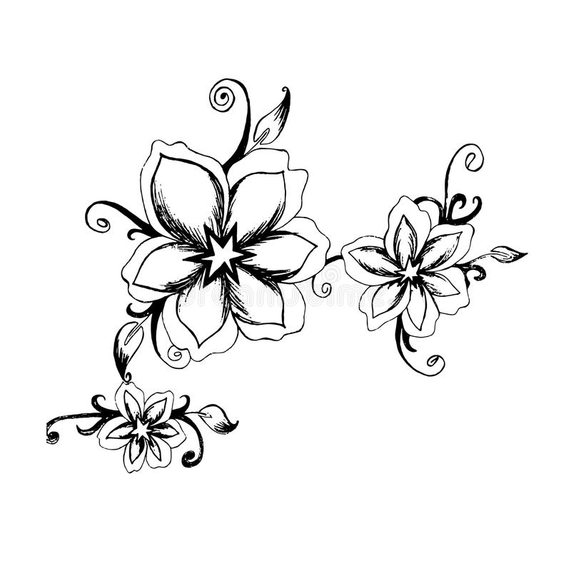 Decorative Flowers In Sketch Style