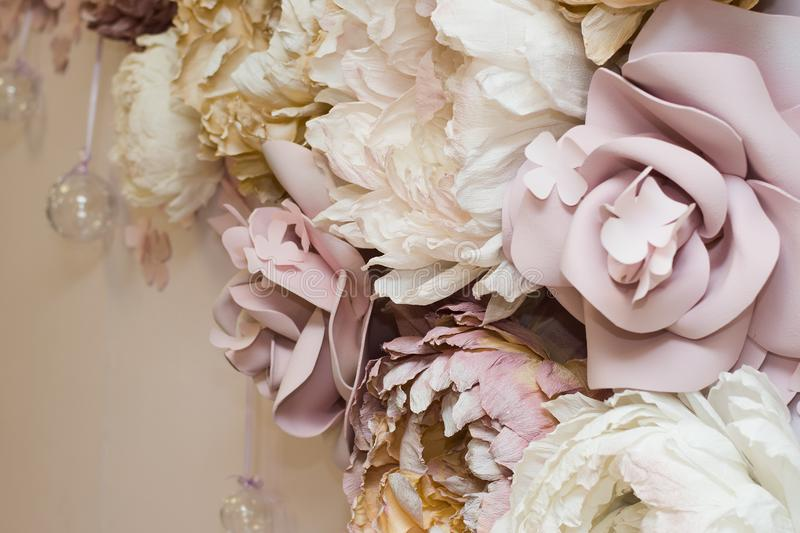 Decorative flowers on the wall. area a selfie stock photos